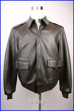 Vintage Mens Willis Geiger A-2 Brown Horsehide Leather Flight Bomber Jacket 42