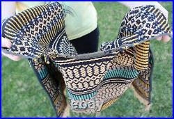Vintage Mexican Serape Poncho Blanket Vest Jacket Biker Motorcycle Hippie Wool