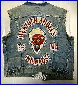 Vintage Motorcycle Club Biker Vest MC Patches Levis