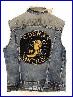 Vintage Motorcycle Club Jacket Levis Big E Biker Rare Vest Denim Cut Colors