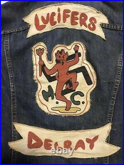 Vintage Motorcycle Club Vest Outlaw Cuts Biker Gang