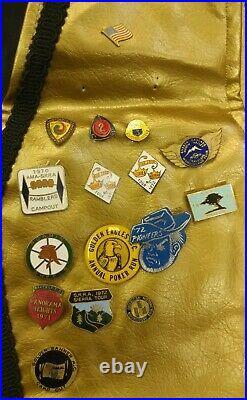 Vintage Motorcycle Club Wedded Wheels Vest Biker Pins Patches MC 1960s 1970s