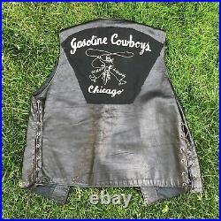 Vintage Motorcycle M. C. Club Vest Gasoline Cowboys Chicago Llad Chainstitch