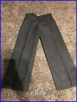 Vintage NRA 1930s Men's Tuxedo Tails Suit Black on Black Stripe Wool, Vest