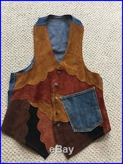 Vintage NUDIE'S RODEO TAILORS CUSTOM MADE Mens Denim and leather Vest XL Cher