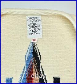 Vintage Ortega's Chimayo Handwoven Wool Blanket Vest Size 42 White