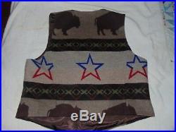 Vintage PENDLETON High GRADE WESTERN Wear WOOL Buffalo Jacket Vest NAVAJO XL