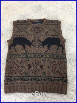 Vintage POLO RALPH LAUREN Nordic Deer Fair Isle Hand Knit ChunkY Sweater Vest S