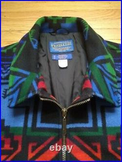 Vintage Pendelton Western Aztec Navajo Wool Blanket Coat size Large