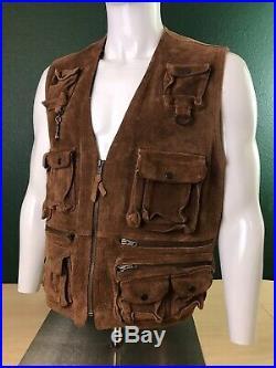 Vintage Polo Ralph Lauren Plaid Lined Zip Fishing Vest XL Leather 100% Tartan