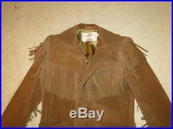 Vintage Rancher BY Schott Suede Leather Jacket Fringe Western Biker Sz. 36