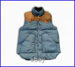 Vintage Rocky Mountain Feather Bed Goose Down RRL Leather Puffer Vest 70s Blue M