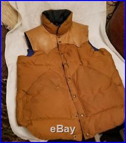 Vintage Rocky Mountain Featherbed Tan/Blue Leather Yoke Vest Size 44