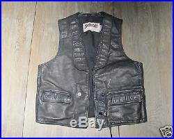Vintage Schott Black Leather Vest
