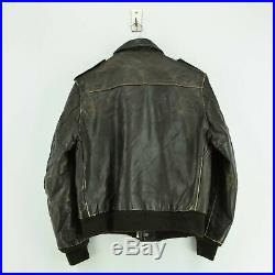 Vintage Schott IS-674-MS A-2 Brown Leather Flight Bomber Jacket Usa Made S