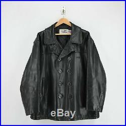 Vintage Schott Nyc 740N Black Leather Pea Coat Reefer Jacket Usa Made XXL / XXXL