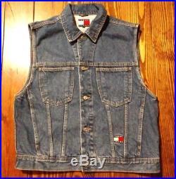 Vintage Tommy Hilfiger Tommy Jeans Denim Jean Vest Big Flag Size XL Excellent