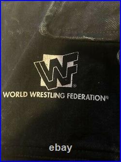 Vintage WWF Stone Cold Steve Austin Men's Skull Painted Denim Wrestling Vest L