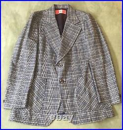 Vintage Westcott 3 Piece Suit, Jacket/Vest/Pants Plaid 1970s Suit/ Bell Bottoms