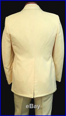 Vintage Yellow Tuxedo Jacket with Vest & Bow Tie 1970's Disco Halloween Costume