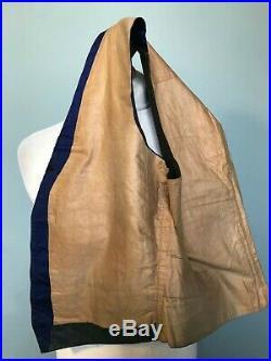 Vintage antique Victorian bespoke brocade blue silk waistcoat size 38 40