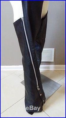 Vintage black leather Schott vest Excelled motorcycle jacket Park V chaps