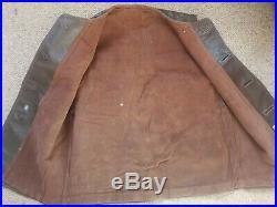 Vintage post WW2 1950s Brown British Military Leather Jerkin Vest VGC