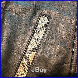 Vintage rattlesnake Leather & Snakeskin BIKER VEST motorcycle hot Leather sz40