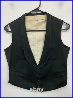 Vtg 1920s 3pc Tuxedo BUCKLE BACK sz 34 R WEDDING suit EUC Gatsby vest Black