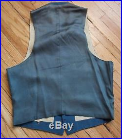 Vtg 1930s 2Pc Belt Back Blue Gray Suit Jacket & Vest Sz-40 RARE