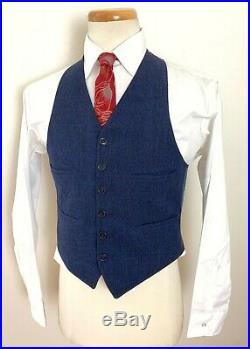 Vtg 1930s 3pc Wool BUTTON-FLY Suit 36 38 S jacket ART DECO pants WWII vest