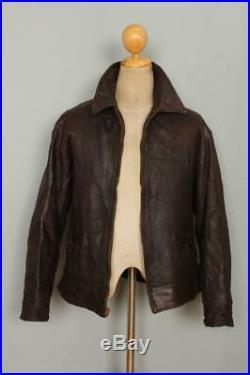 Vtg 1930s HORSEHIDE Brown Leather Sports Motorcycle Jacket Medium