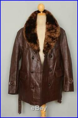 Vtg 1930s HORSEHIDE Leather Barnstormer Car Coat Sheepskin Lined XLarge