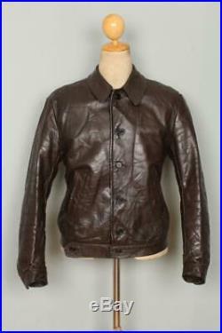 Vtg 1930s HORSEHIDE Leather Sports Work Cossack Leather Jacket