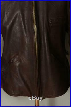 Vtg 1940s HERCULES Sears GOATSKIN Leather Half Belt Sports Jacket Large