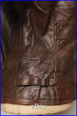 Vtg 1940s HORSEHIDE Half Belt Sports Leather Jacket Size Small