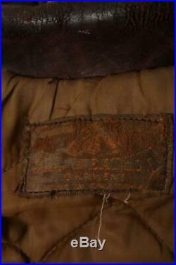 Vtg 1940s HORSEHIDE Leather Flight Motorcycle Jacket Large