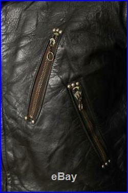 Vtg 1940s HORSEHIDE Leather Motorcycle Biker Jacket XS