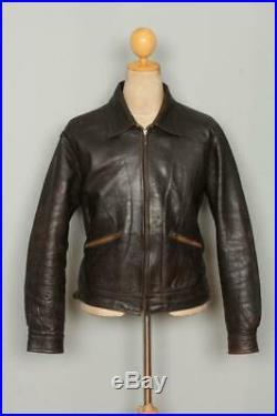 Vtg 1940s HORSEHIDE Leather Sports Motorcycle Jacket Medium/Large