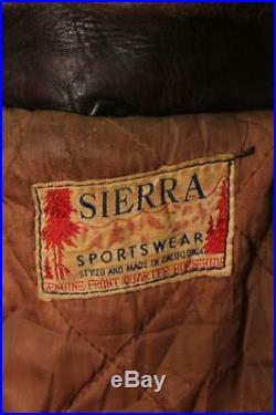 Vtg 1940s Sierra Sports HORSEHIDE Leather Flight Motorcycle Jacket Large