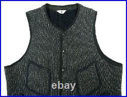 Vtg 1950s 60s BROWNS BEACH Cloth Vest 40 work wear M black rockabilly jacket