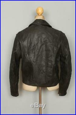 Vtg 1950s D-POCKET Black Leather Motorcycle Biker Jacket Medium