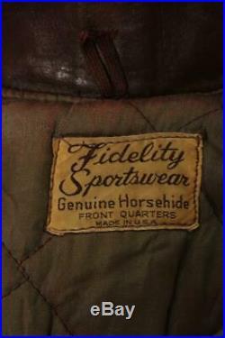 Vtg 1950s Fidelity HORSEHIDE Leather Flight Motorcycle Jacket L/XL
