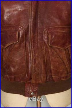 Vtg 1950s GRAIS Russet Brown HORSEHIDE Leather Sports Flight Jacket XS