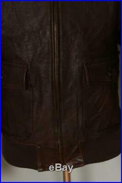 Vtg 1950s Golden Bear HORSEHIDE Flight Leather Sports Jacket Small
