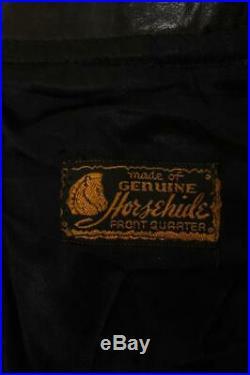 Vtg 1950s HORSEHIDE Leather Half Belt Sports Motorcycle Jacket L/XL