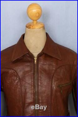 Vtg 1950s HORSEHIDE Leather SUNBURST Sports Half Belt Motorcycle Jacket S/XS