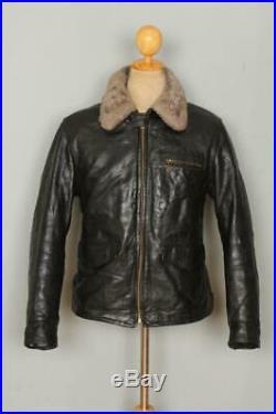 Vtg 1950s HORSEHIDE Leather Sports Motorcycle Fleece Lined Jacket Medium