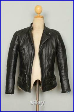 Vtg 1960s CHAMPION Rivetts British Leather Motorcycle Biker Jacket 34/36
