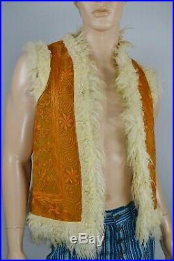 Vtg 1960s Mens Embroidered Fur Sheepskin Shearling Rockstar Hippie Vest Afghan
